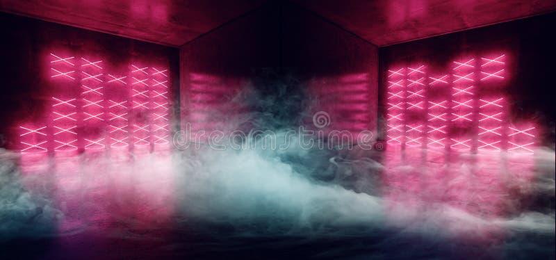 Le club de danse mené rougeoyant bleu de laser de Cyber de fumée de rose rouge moderne futuriste au néon vibrant de Sci fi allume illustration stock