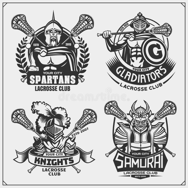 Le club de lacrosse symbolise avec les guerriers antiques Conception d'impression pour le T-shirt illustration de vecteur