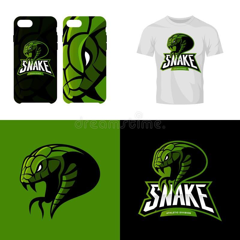Le club de sport furieux de serpent a isolé le concept de logo de vecteur illustration de vecteur