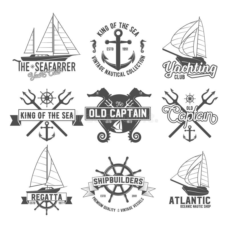 Le club de yacht badges des logos et des labels illustration libre de droits