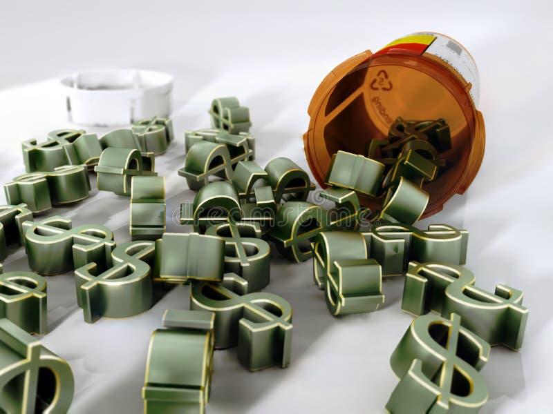 Le coût de médicaments délivrés sur ordonnance illustration libre de droits
