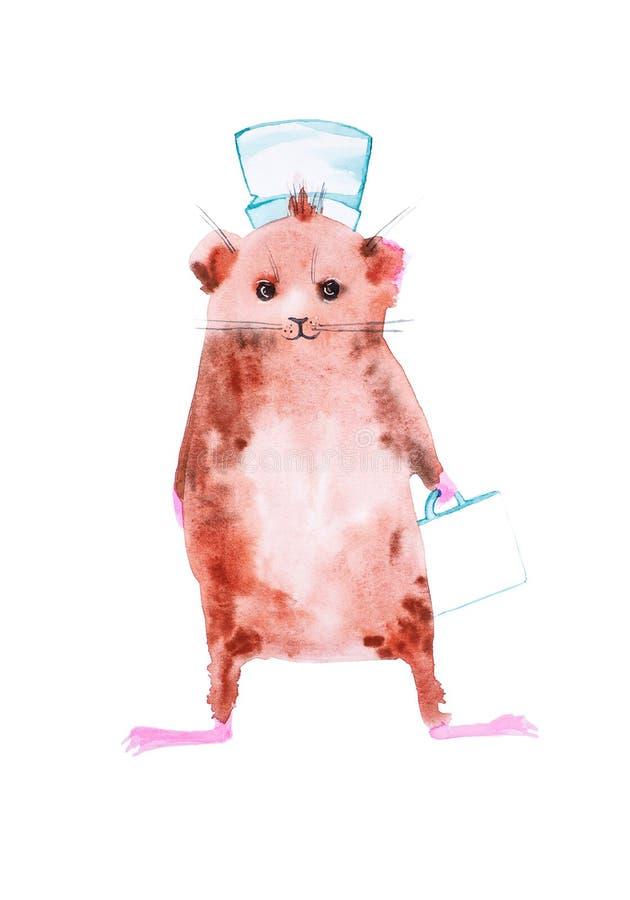 Le cobaye est devenu un docteur et des hâtes à la délivrance Illustration comique d'aquarelle d'isolement sur le fond blanc image libre de droits