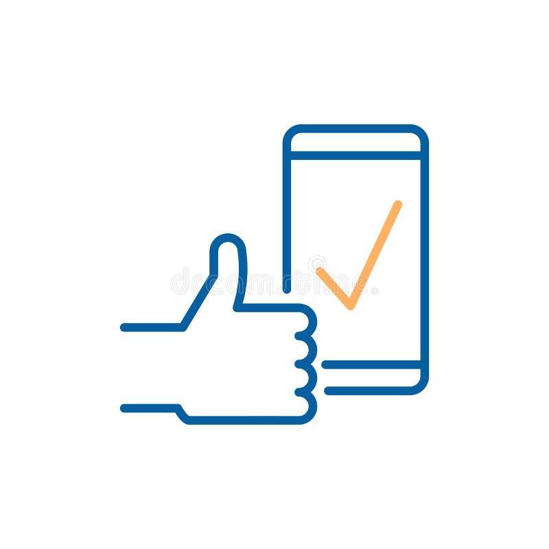 Le coche sur l'écran intelligent de téléphone avec des pouces indiquant le succès, approbation, téléchargent complet, réaction po illustration stock