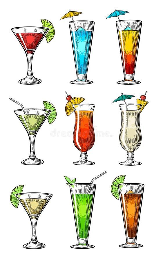 Le cocktail d'alcool a placé - la margarita, sexe sur la plage, colada de pina, daiquiri, mojito, libre du Cuba, lagune cosmopoli illustration de vecteur
