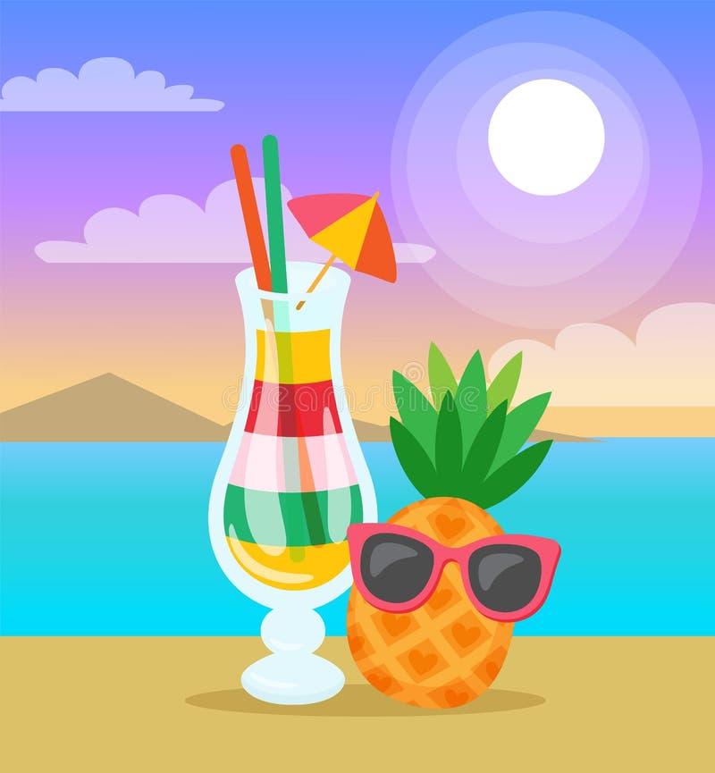 Le cocktail a versé dedans le paysage marin en verre d'été d'ananas illustration libre de droits