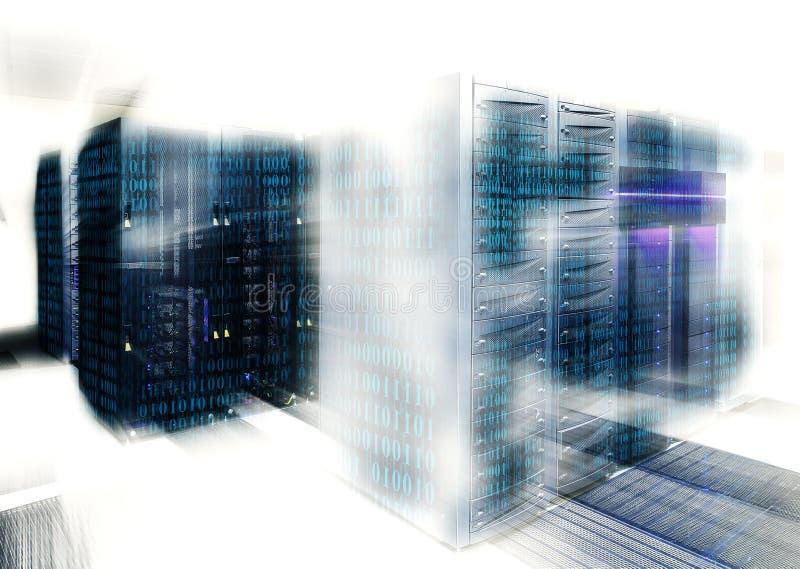 Le code binaire couvre une partie d'unité centrale au centre de traitement des données illustration de vecteur