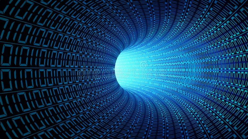 Le code binaire numérote dans le mouvement abstrait bleu de vitesse dans la route illustration de vecteur
