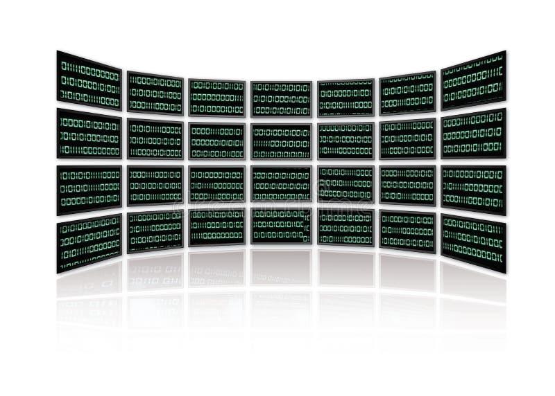 Le code binaire rougeoie sur des écrans de TV illustration libre de droits