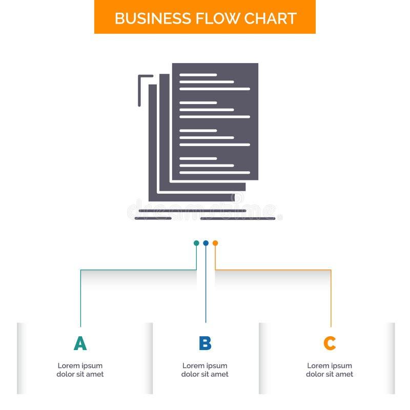 Le code, codage, compilent, les dossiers, conception d'organigramme d'affaires de liste avec 3 étapes Ic?ne de Glyph pour l'endro illustration stock