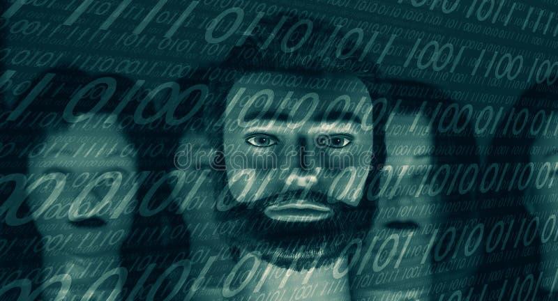 Le code entaillé de la binaire 01, ordinateur n'est pas sûr photographie stock libre de droits