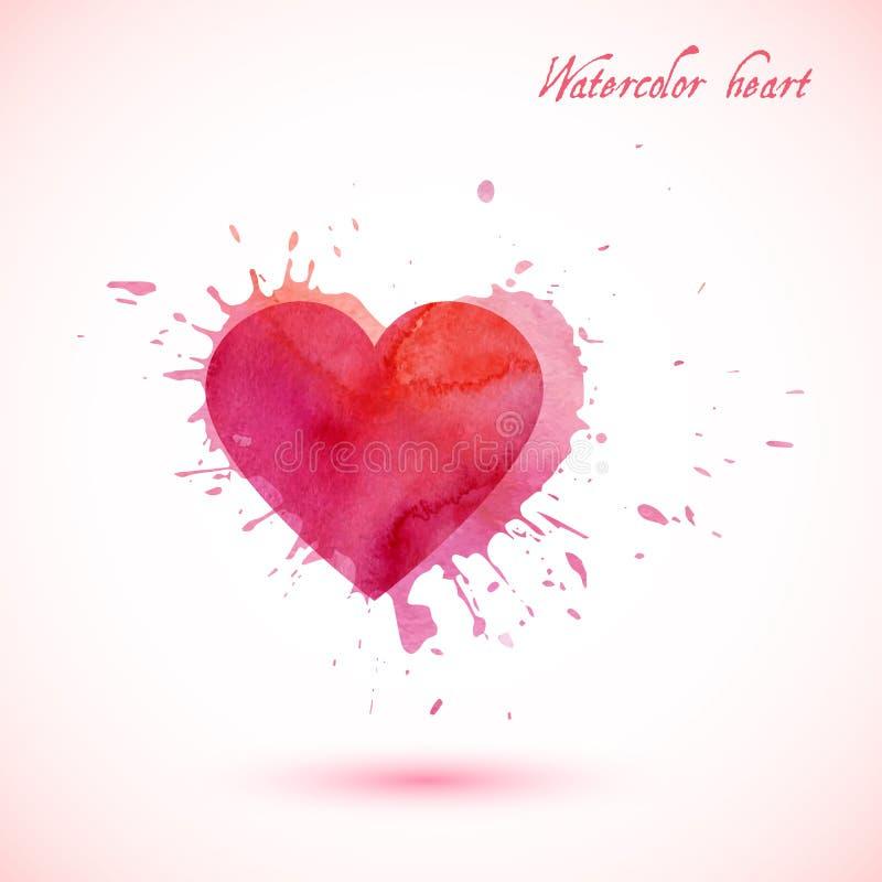 Le coeur abstrait d'aquarelle de vecteur avec éclabousse illustration libre de droits