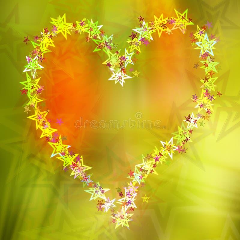 Le coeur abstrait tient le premier rôle la carte postale, fond coloré illustration libre de droits