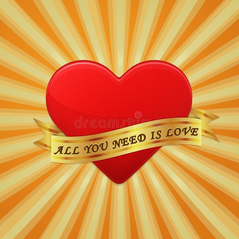 Le coeur avec le ruban et expriment tous que vous avez besoin est amour. illustration libre de droits