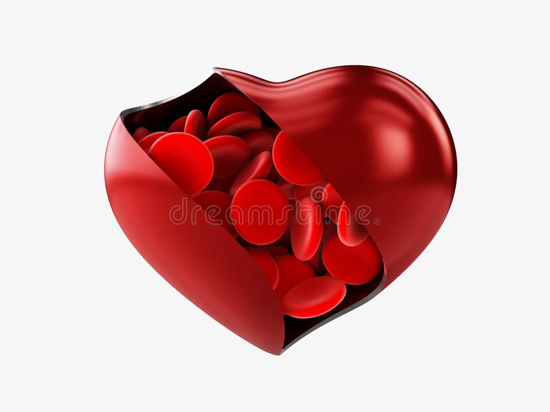 Le coeur avec le sang de cellules rouges a isolé le blanc, l'illustration 3d photos stock