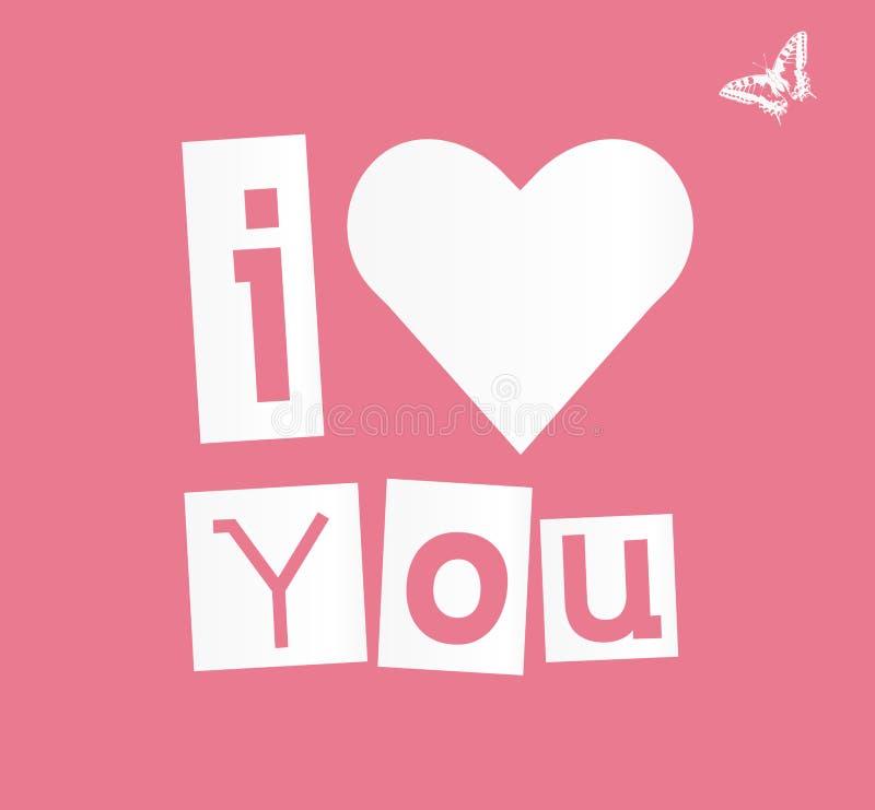 Le coeur avec le texte dirigent je t'aime images libres de droits