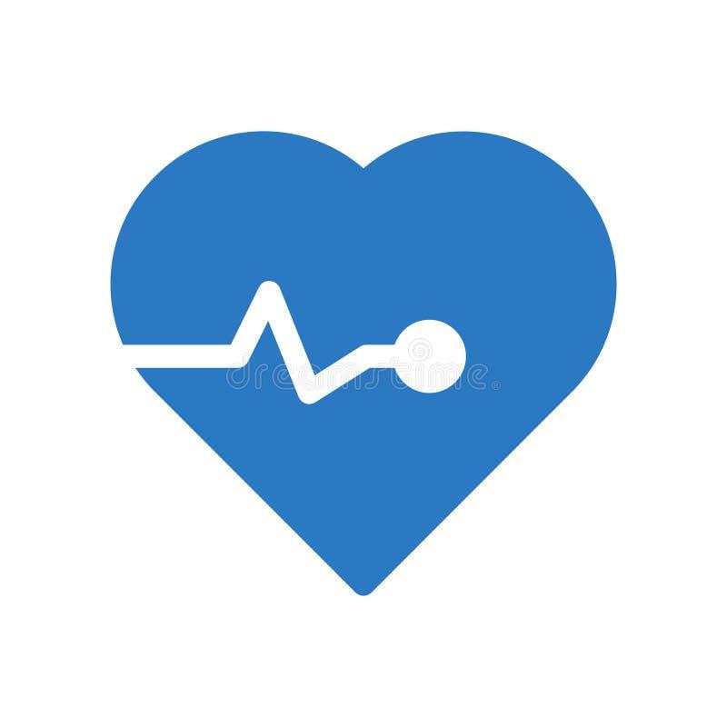 Le coeur bat l'icône plate de vecteur de couleur de glyph illustration de vecteur