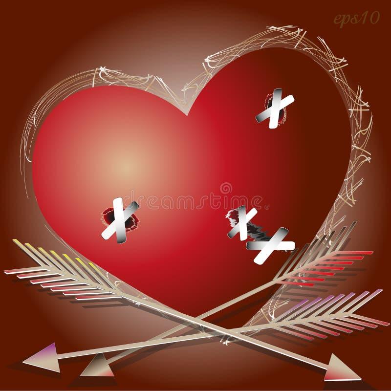 Le coeur blessé illustration stock