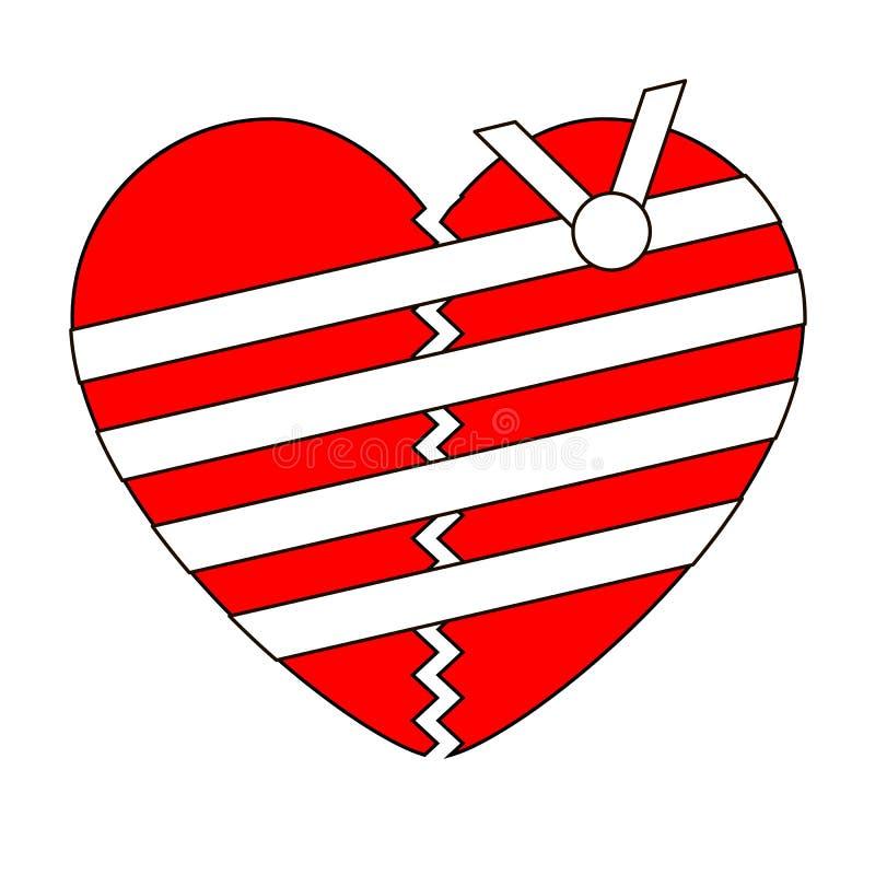 Le coeur brisé avec le bandage sur le fond blanc illustration stock