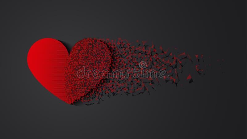 Le coeur brisé avec l'ombre illustration stock