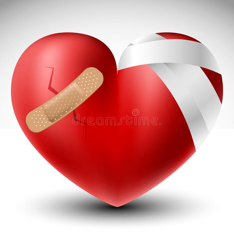 Le coeur brisé avec le bandage illustration de vecteur