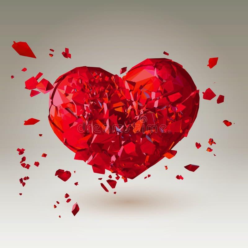Le coeur brisé 3D polygonal sur le bas poly fond illustration stock