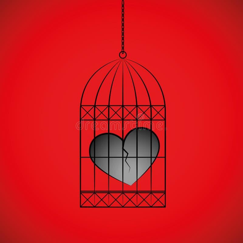 Le coeur brisé dans une cage à oiseaux sur le fond rouge illustration libre de droits