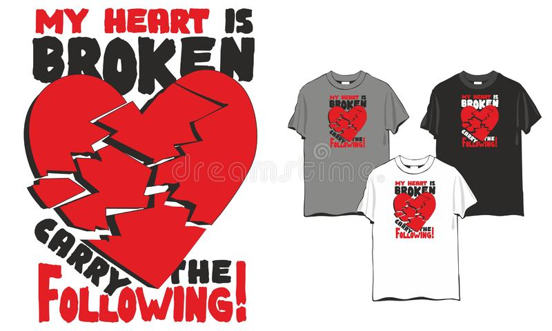 Le coeur brisé de T-shirt illustration libre de droits