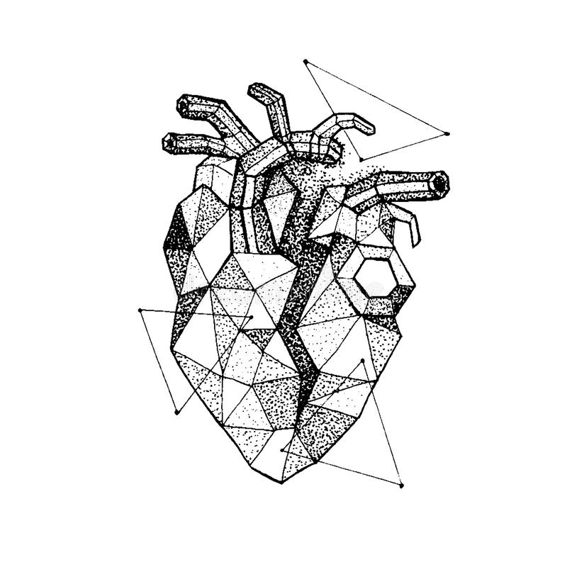 Le coeur brisé polygonal de Dotwork illustration stock