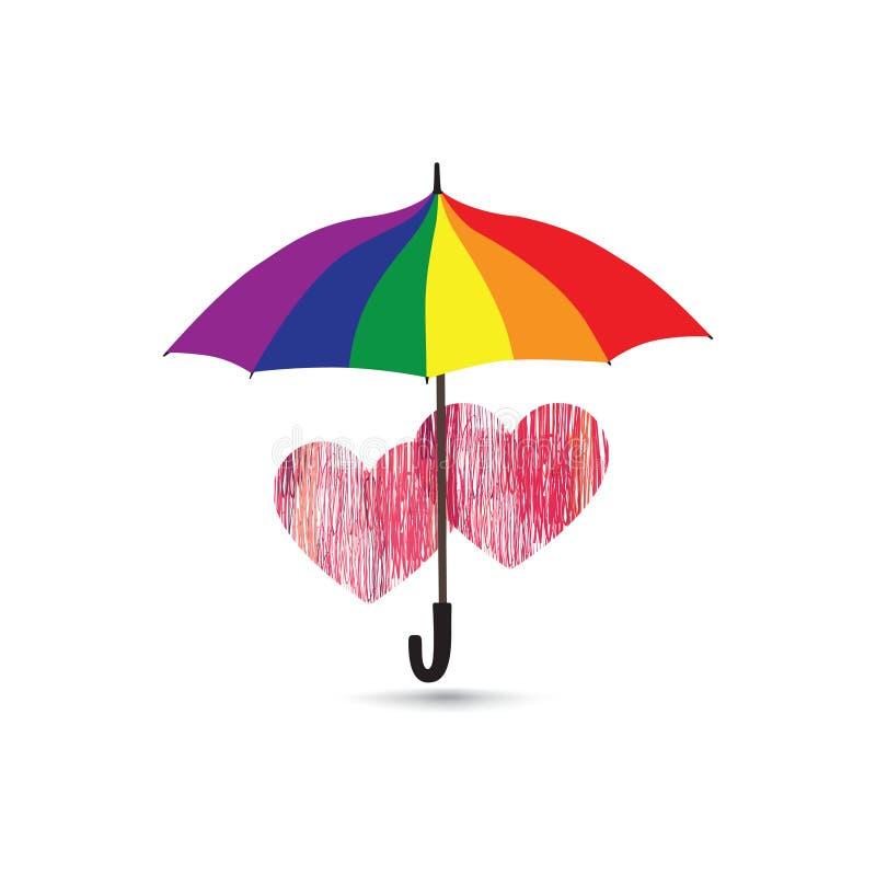Le coeur d'amour signent plus de la protection de parapluie dans des couleurs de lgbt d'arc-en-ciel illustration stock