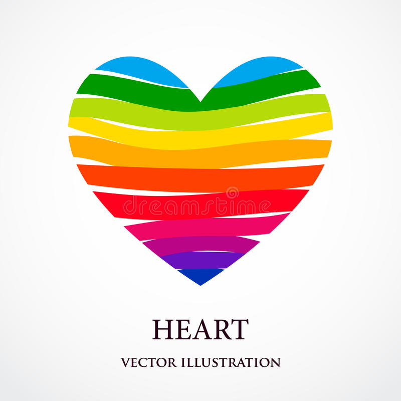 Le coeur d'arc-en-ciel s'est composé des rubans illustration stock