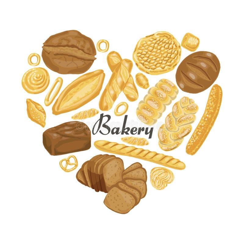 Le coeur d'isolement des produits colorés de boulangerie illustration de vecteur