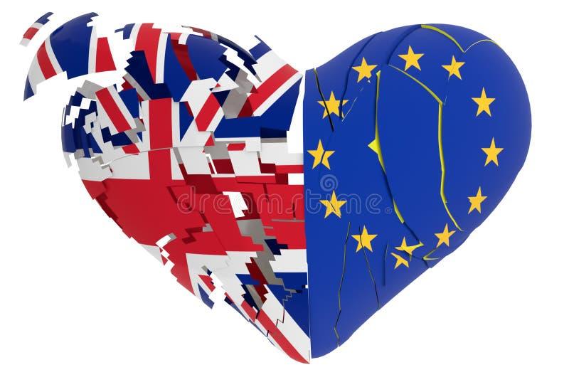 Le coeur de Brexit a fendu d'isolement à l'arrière-plan blanc - le rendu 3d illustration de vecteur