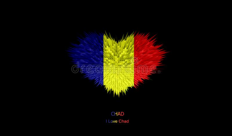 Le coeur de Chad Flag illustration libre de droits