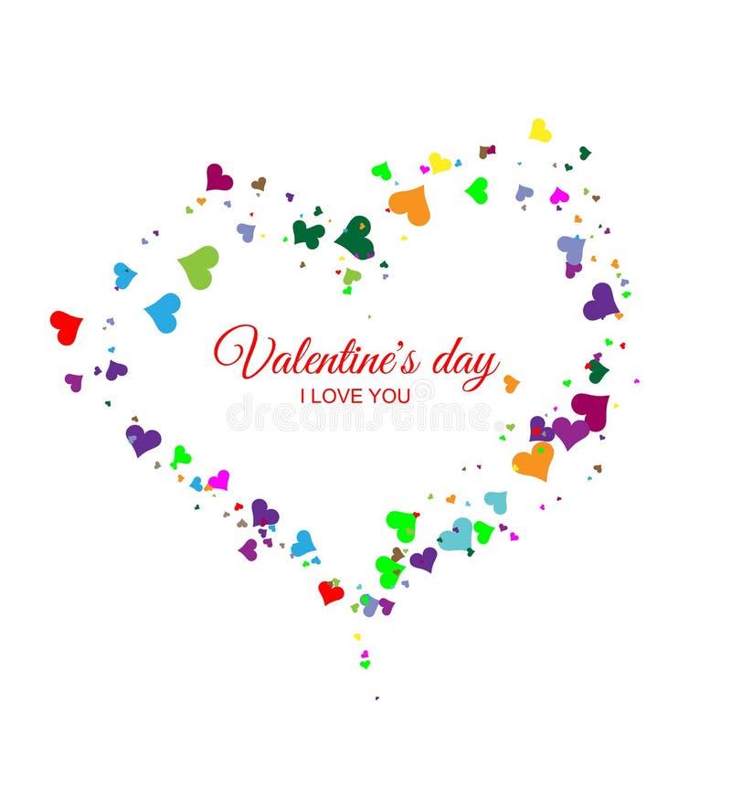 Le coeur de Valentine des coeurs multicolores sur un fond blanc Coeur en baisse illustration libre de droits