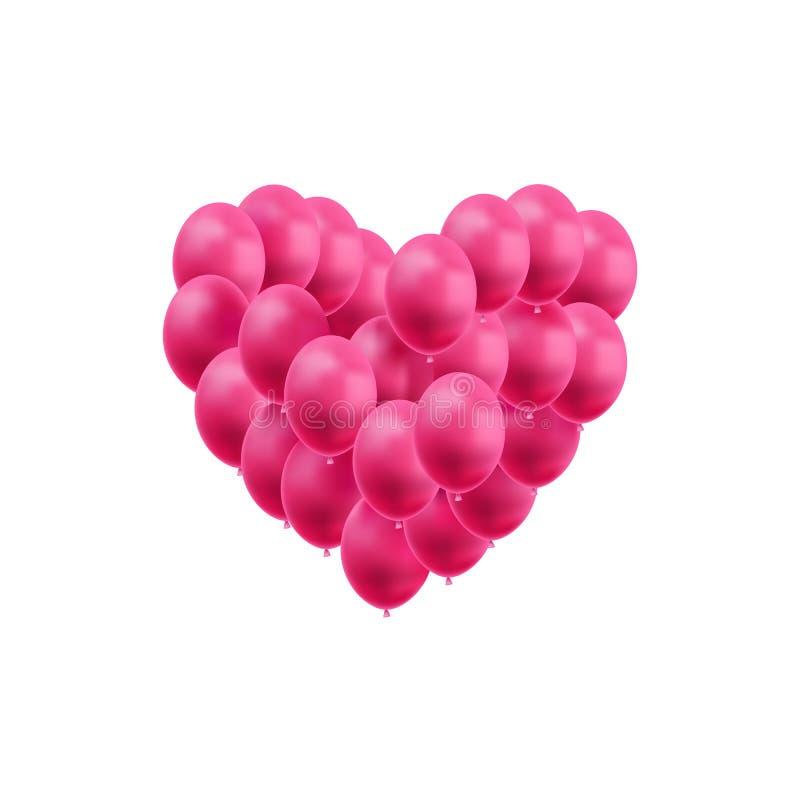 Le coeur de vecteur fait de ballons roses lumineux a isolé, décoration de jour de valentines, élément de conception de mariage, s illustration stock