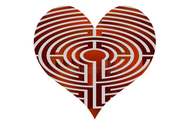 Le coeur de vecteur ressemble au labyrinthe illustration de vecteur