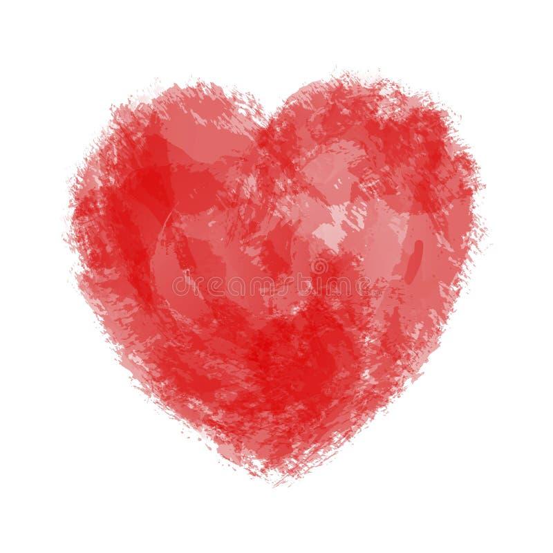 Le coeur des taches de peinture, brosse frotte, éclabousse et éponge illustration de vecteur