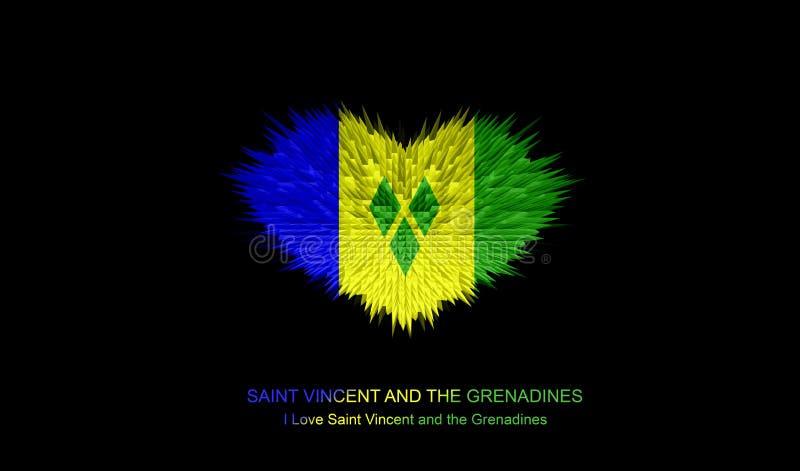 Le coeur du drapeau de Saint-Vincent-et-les-Grenadines illustration de vecteur
