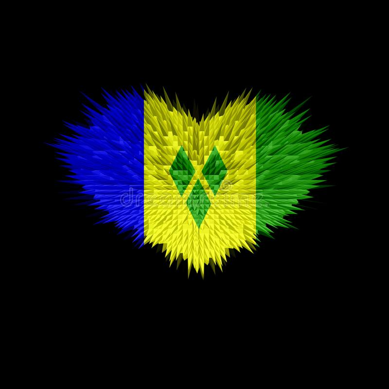 Le coeur du drapeau de Saint-Vincent-et-les-Grenadines illustration stock