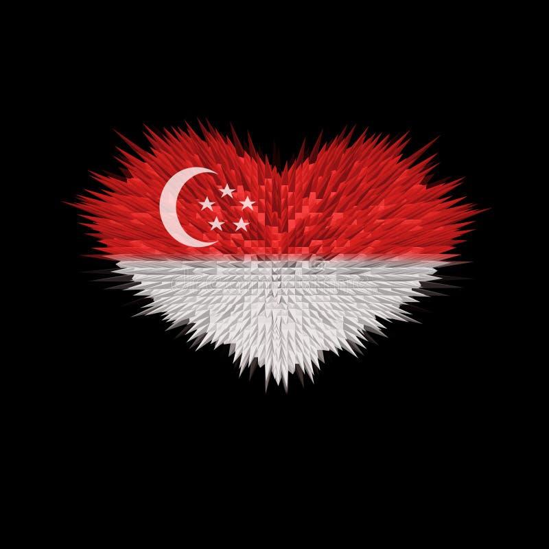Le coeur du drapeau de Singapour illustration stock