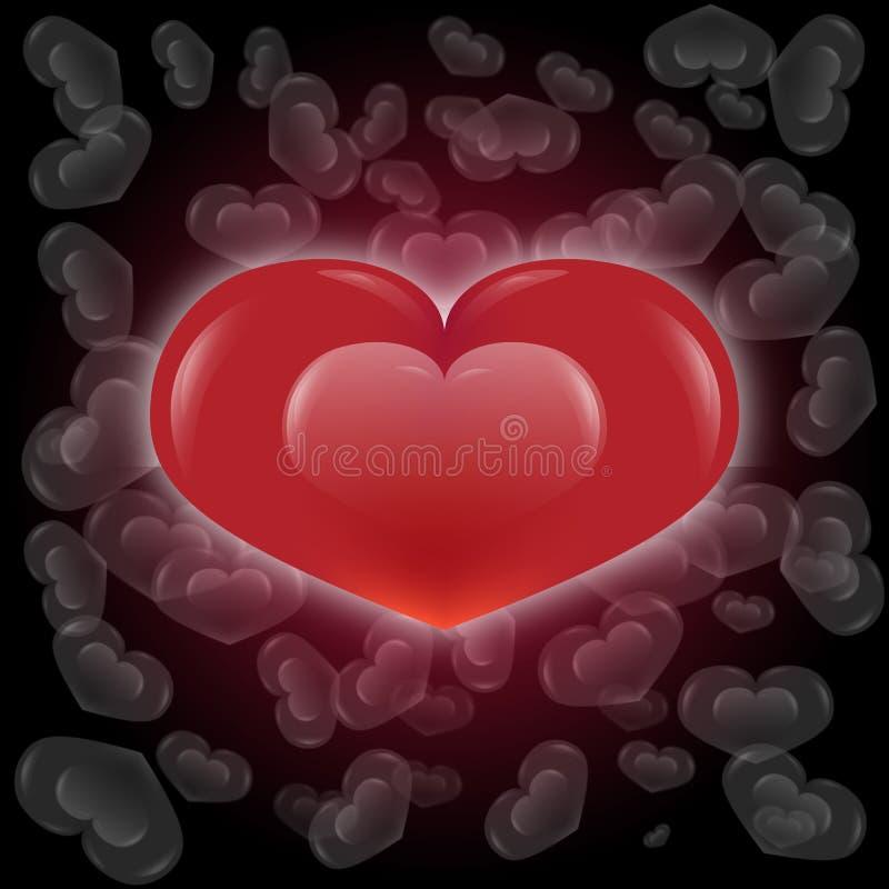 Le coeur et le blanc rouges de lustre meurent fond de coeur illustration de vecteur