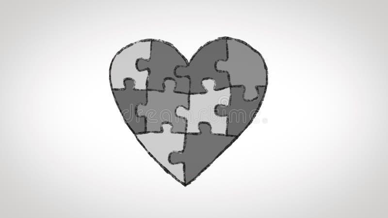Le coeur a fait d'un puzzle animé, idéal pour des thèmes au sujet du thème de l'autisme illustration de vecteur