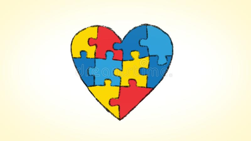Le coeur a fait d'un puzzle animé, idéal pour des thèmes au sujet du thème de l'autisme illustration libre de droits