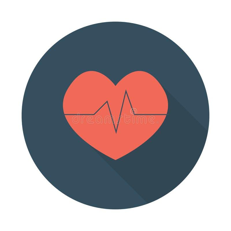 Le coeur forme l'ensemble plat d'icônes de conception Concept de logo de clinique de cardiologie Entendez avec la longue ombre illustration stock
