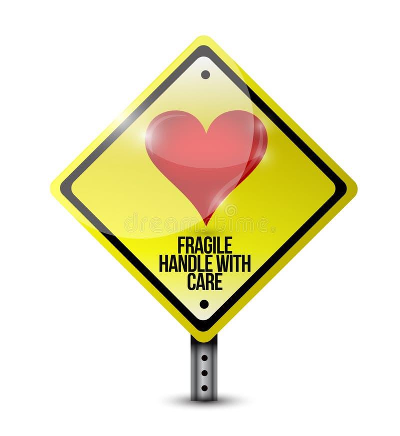 Le coeur fragile manipulent avec l'illustration de signe de soin illustration stock