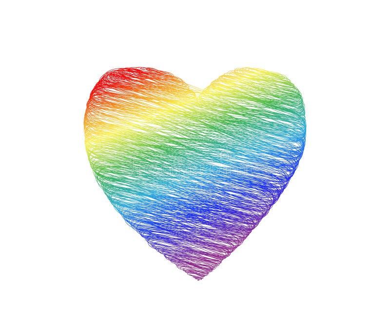 Le coeur a griffonné des couleurs de l'arc-en-ciel sur un fond blanc symbolisme de lgbt illustration de vecteur