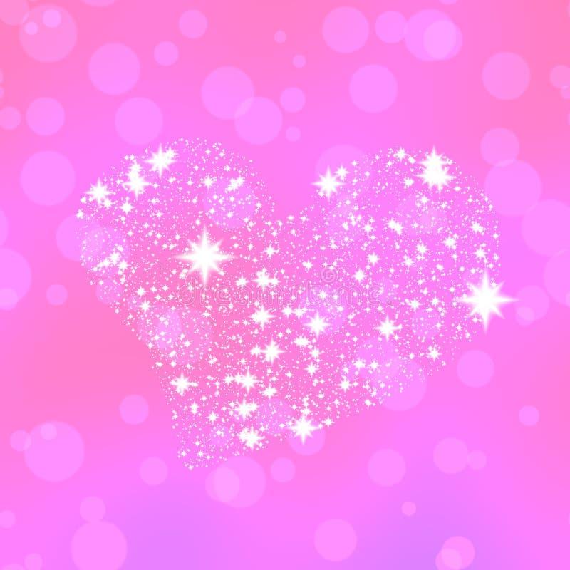 Le coeur mou composé de blanc se tient le premier rôle sur le fond rose de bokeh illustration stock