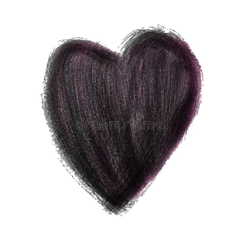 Le coeur noir a peint l'illustration de vecteur d'aquarelle, coeur tiré par la main d'isolement illustration stock