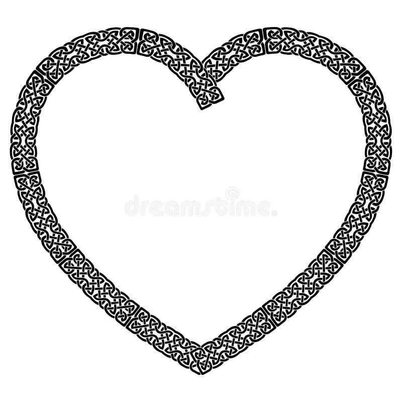 Le coeur noué de style celtique noir avec le modèle de noeud d'éternité a inspiré par jour du ` s de St Patrick d'Irlandais et Ir illustration libre de droits