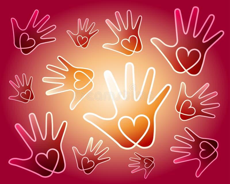 Le coeur remet le fond illustration de vecteur